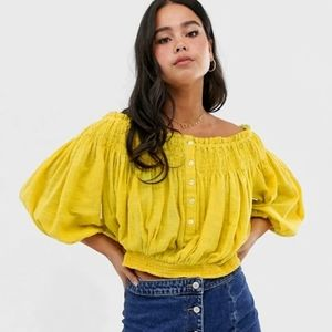 FREE PEOPLE Yellow Ruched Off The Shoulder Top